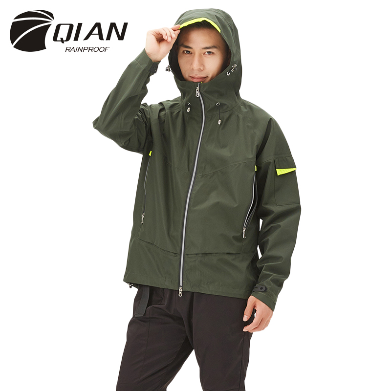 QIAN Impermeable Men s Raincoat Multi functional Breathable Climbing Rain Coat Waterproof Casual Working Jacket Sports