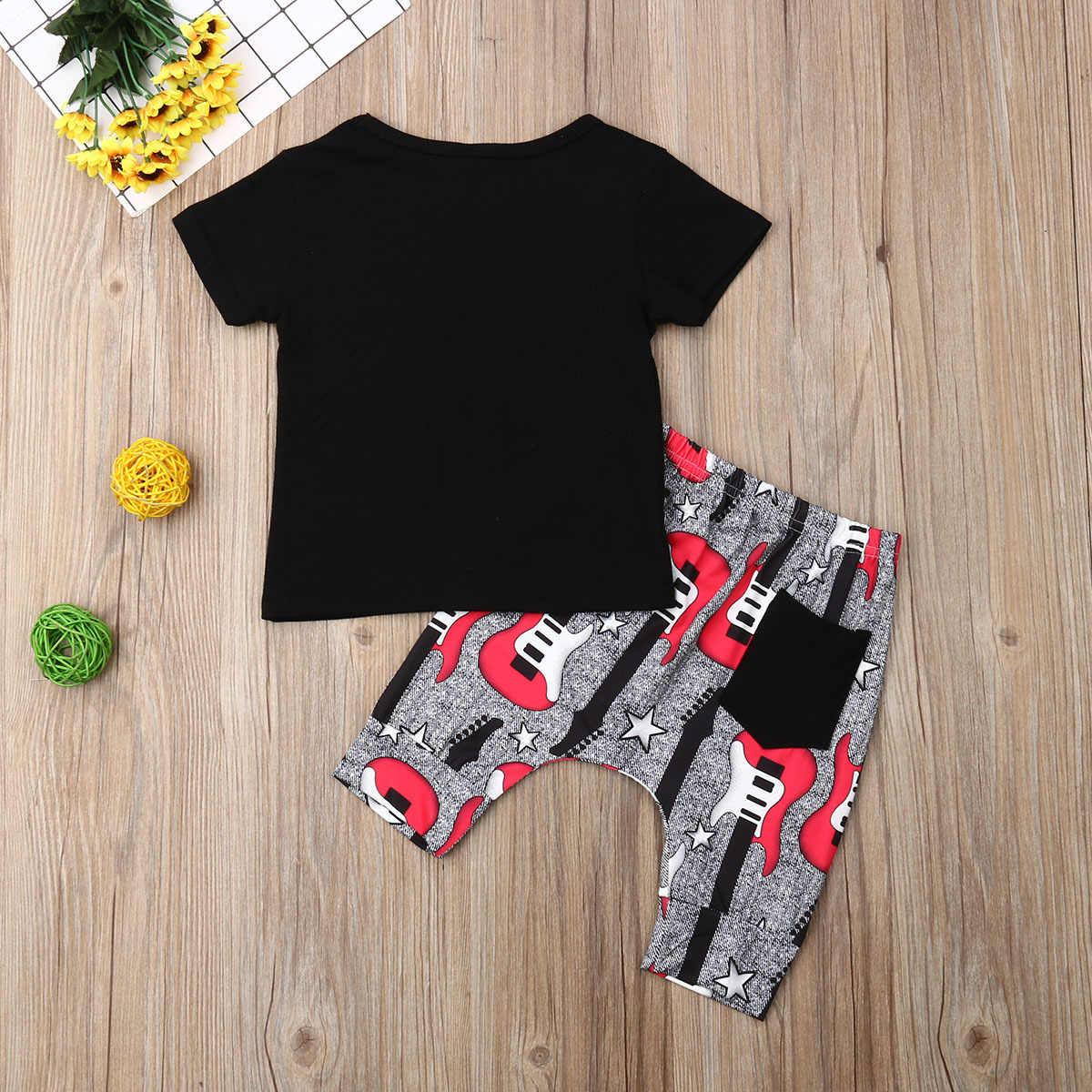 2019 Bebek Erkek Kız Giyim seti kısa kollu tişört + Pantolon 2 ADET Kıyafetler set Çocuklar 12M-3Y I love Rock N 'ROLL baskılı