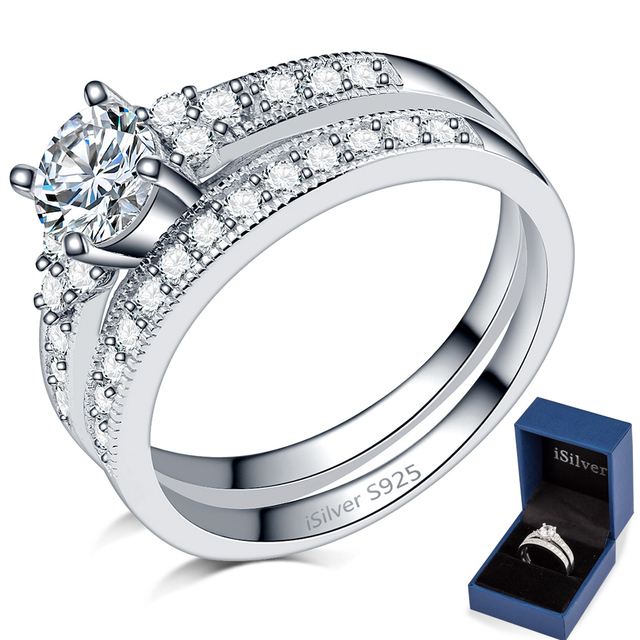 Real 925 Sterling Silver Wedding Engagement Ring Set Two In One Bridal Anniversary Statement