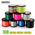 Леска GHOTDA  8 нитей  1000 м  500 м  300 м  PE  плетеная  для соленой воды  улучшенный Экстремальный  суперпрочный