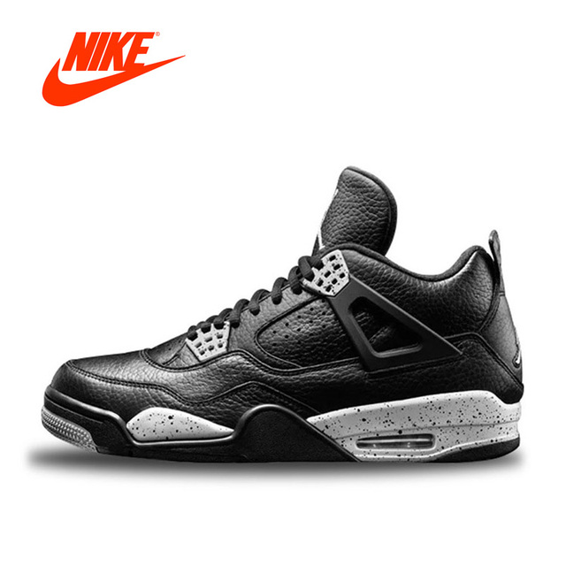 Original New Arrival Authentic Nike Air Jordan 4 Oreo AJ4 Breathable Men\u0027s  Basketball Shoes Sports Sneakers