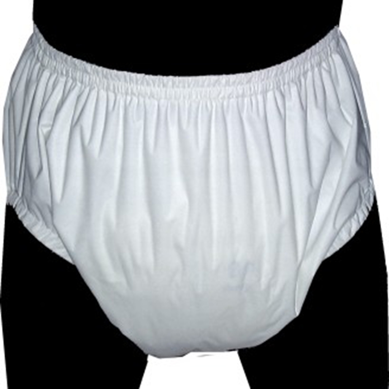 Free Shipping FUUBUU2209-WHITE Pull On Incontinence Plastic Pants Adult Trousers Minor Incontinence  ABDL