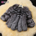 Full genuine leather real silver fox fur coat autumn and winter short design women's real fur