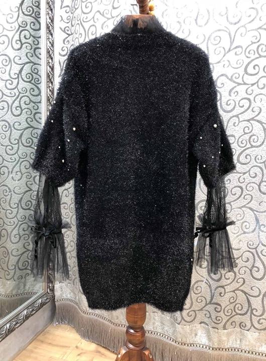 2019 Noir Nouvelles Début À Col Rond Du Brillant Au 118 Manches Femmes Perspective De pièce Chemise Lourd Longues Deux Printemps Travail rgnrqx