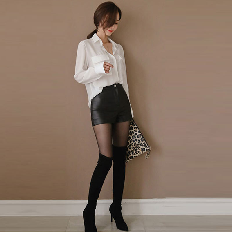 High Waist PU Leather Shorts Korean Fashion Black Spring Autumn Women Shorts Cool Skinny Work Party Wear Female Shorts 3