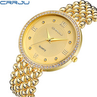 CRRJU Top Luxury Dress Brand Fashion Watch Woman Ladies Gold Diamond Relogio Feminino Dress Clock Female