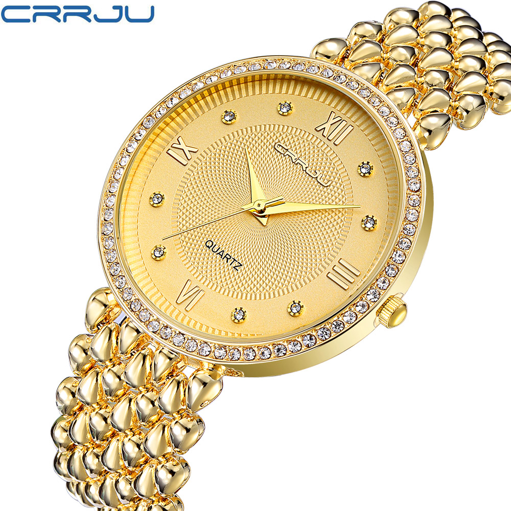 CRRJU Top luxury Dress Brand Fashion Watch Woman Ladies Gold Diamond relogio feminino Dress Clock female relojes mujer 2017 New история психологии психология души учебник для вузов