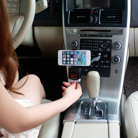 Bluetooth Car Kit Phone Holder Original BT8118 BT Handfree Calling FM Transmitter with USB Charger Support Car Music Playi Lahore