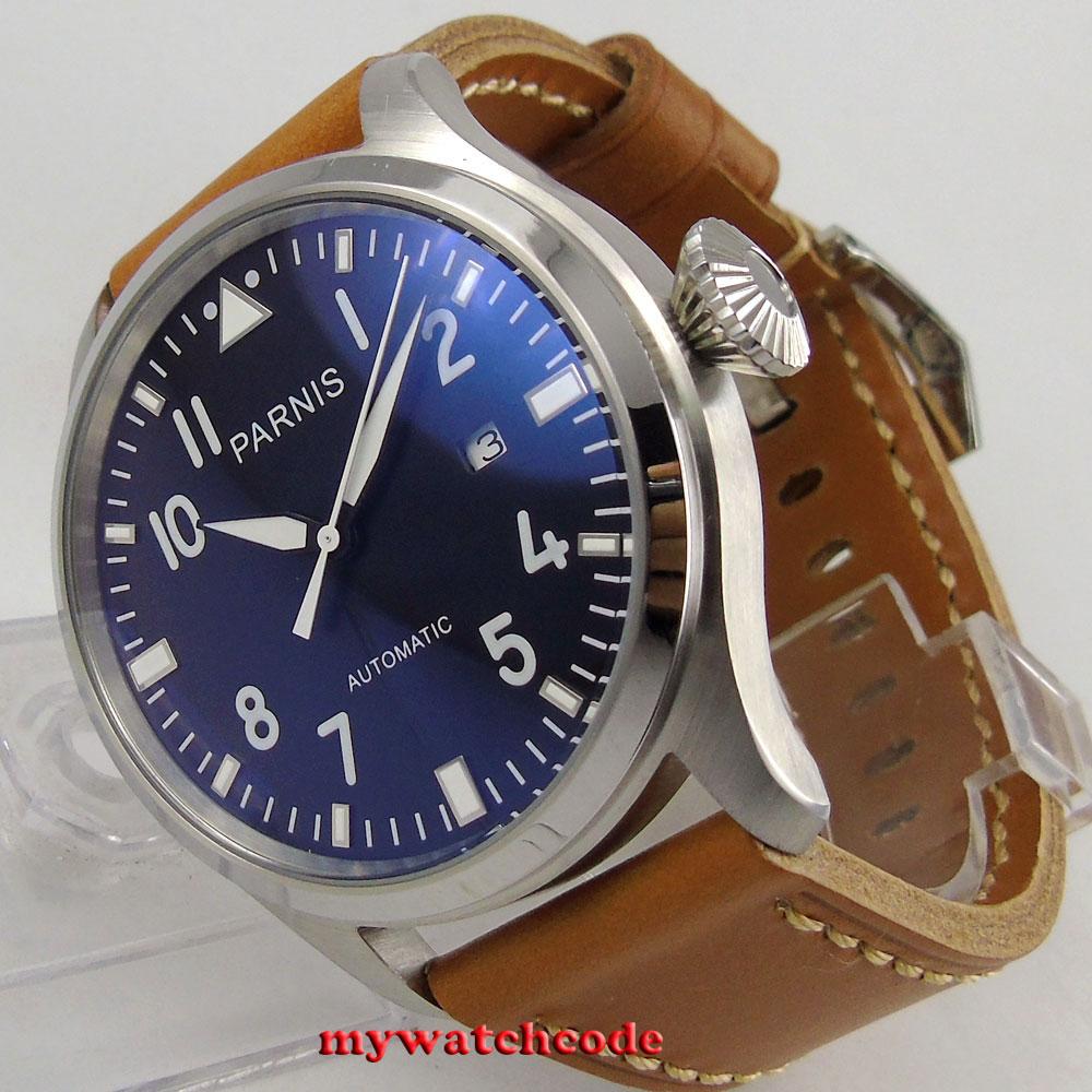 лучшая цена 47mm parnis black dial date brown leather strap ST2551 automatic mens watch P38