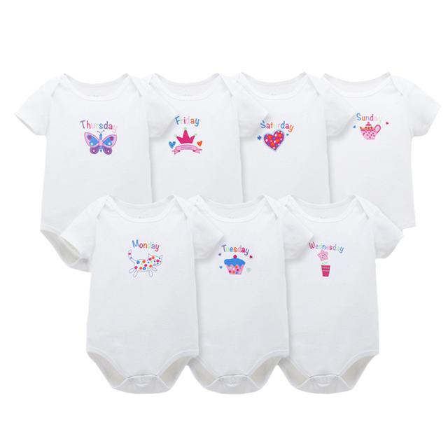 7 pcs suave algodón de la muchacha de los mamelucos infantiles animal lindo impreso Niños Semana Roupas de Bebe Niño Del Mono de Manga Corta ropa