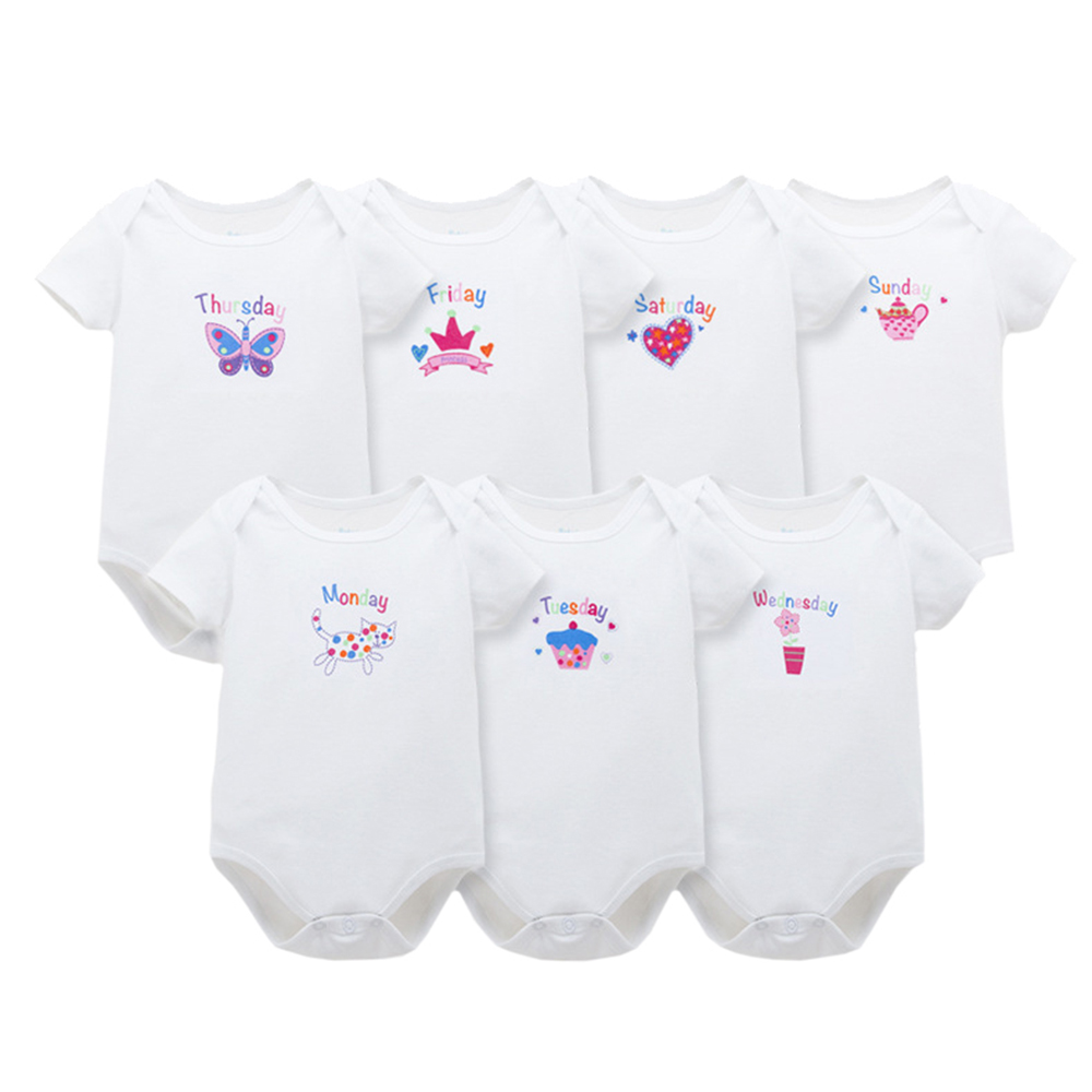 7Pcs Soft Cotton Baby Boy Girl Rompers Infant Cute Animal Printed Kids Week Jumpsuit Short Sleeve Roupas De Bebe Toddler Clothes 2017 baby knitted rompers girls jumpsuit roupas de bebe wool baby romper overalls infant toddler clothes girl clothing 12m 5y