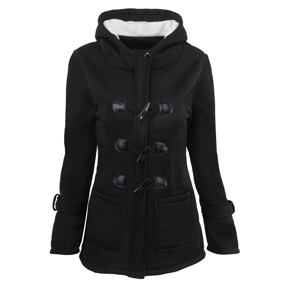 Plus Size S~6XL Women Hooded Coat 2018 Causal Women's Overcoat Female Coat Zipper Horn Button Outwear Jacket Casaco Feminino (8)