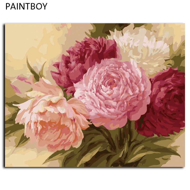 PAINTBOY DIY Painting By Numbers Framed Pictures Oil Painting On Canvas Traditional Chinese Flower Home Decoration G429