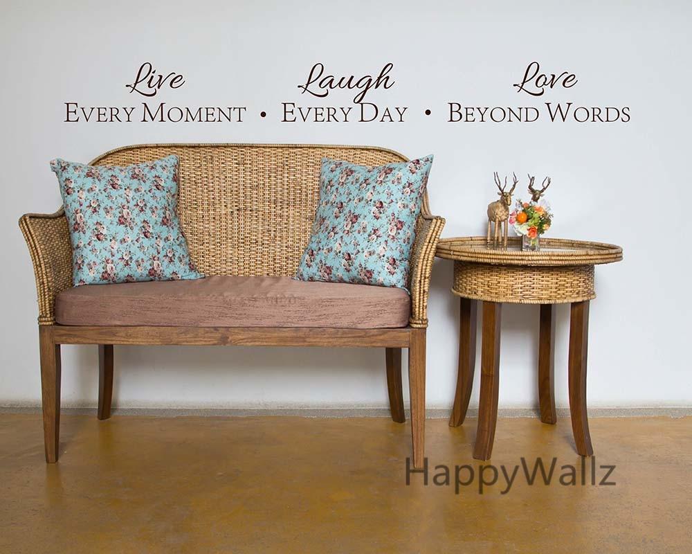 Motivation Sticker mural Vivez chaque instant Riez chaque jour Amour - Décor à la maison - Photo 3