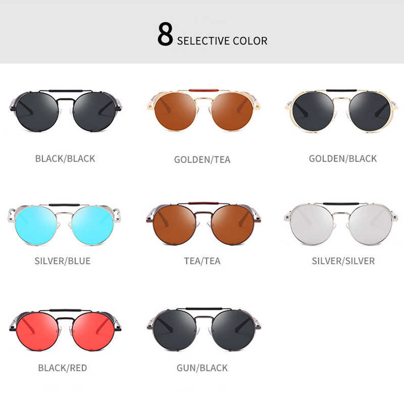 Retro Runde Steampunk Sonnenbrille Männer Frauen Seite Schild Brille Metall Rahmen Gothic Spiegel Objektiv Sonnenbrille