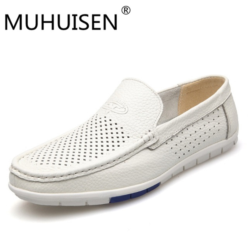 MUHUISEN  2017 Summer Loafers Men Shoes Casual Genuine Leather Flats Shoes Soft Male Moccasins Breathable Gommino Driving white zapatillas hombre 2017 fashion comfortable soft loafers genuine leather shoes men flats breathable casual footwear 2533408w