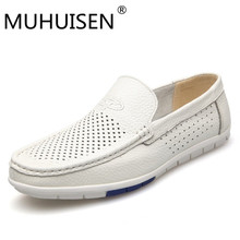 MUHUISEN 2019 Summer Loafers Men Shoes Casual Genuine Leather Flats Shoes Soft Male Moccasins Breathable Gommino Driving white
