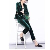 Бархатные штаны костюмы женские брючные костюмы Весенние новые уличные блестящие бархатные штаны темно синий костюм и темно зеленый