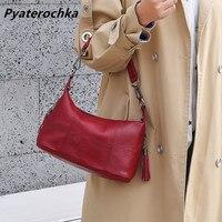 Pyaterochka Genuine Leather Small Bags For Women Red Vintage Shoulder Messenger Bags Ladies Hand Designer Bag 2019 Luxury Brand