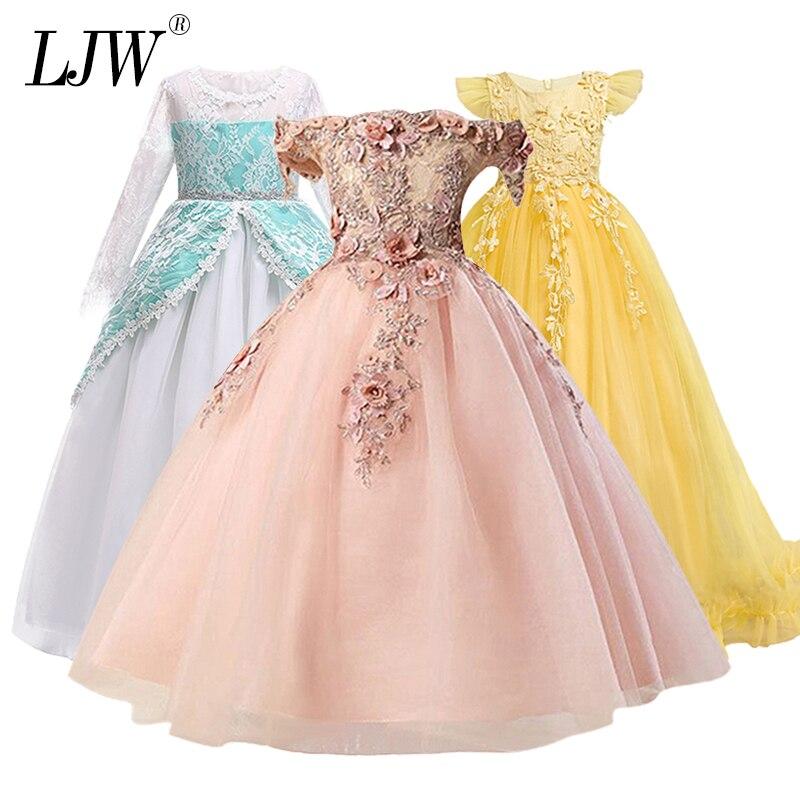 2-14 jahr Kinder Mädchen Hochzeit Blume Mädchen Kleid elegante Prinzessin Partei Pageant Formal Kleid Ärmellose Spitze Tüll lange kleid