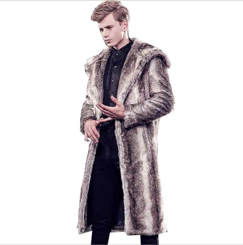 Мужские зимние осенние длинные куртки из кроличьего меха повседневные мужские Теплый искуственный мех верхняя одежда повседневные пальто из искусственного меха K1124