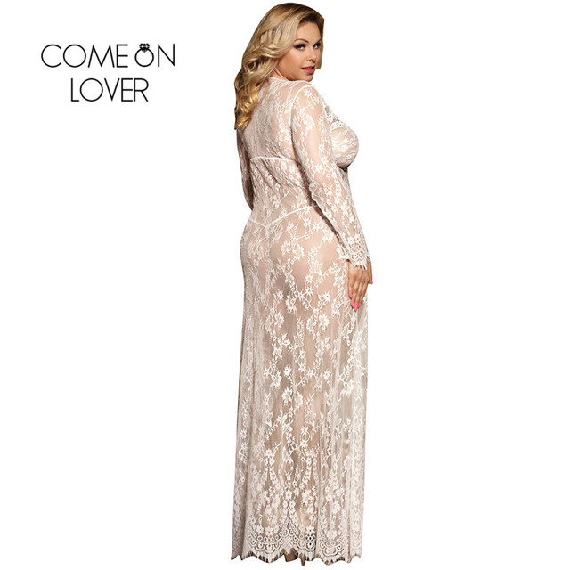 Comeonlover Plus Size Black White Long Sleepwear Lace Gown See Through Sheer Long Sleeve Lace Nightgowns Vestidos Sexys Eroticos 1
