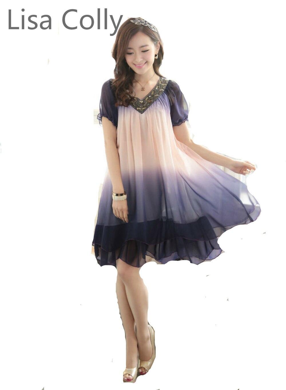 Lisa colly alta calidad vestido de festa mujeres otoño dress, gradiente loose ga