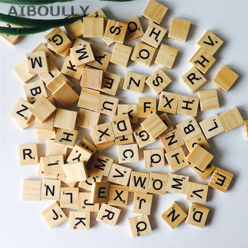 100pcs Wooden English Letters Alphabet Scrabbles Number Words Wood Crafts Wedding DIY De ...