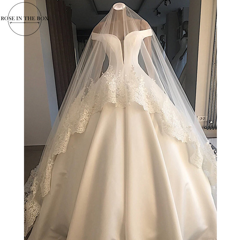 Gelinlik 2019 Elegant Off Shoulder White Wedding Dress Satin Simple Bride Dress Ball Gown Sexy Backless Wedding Gowns With Veil