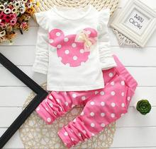 2016 New kids clothes girl baby long rabbit sleeve cotton Minnie casual suits baby clothing retail children suits Free shipping(China)