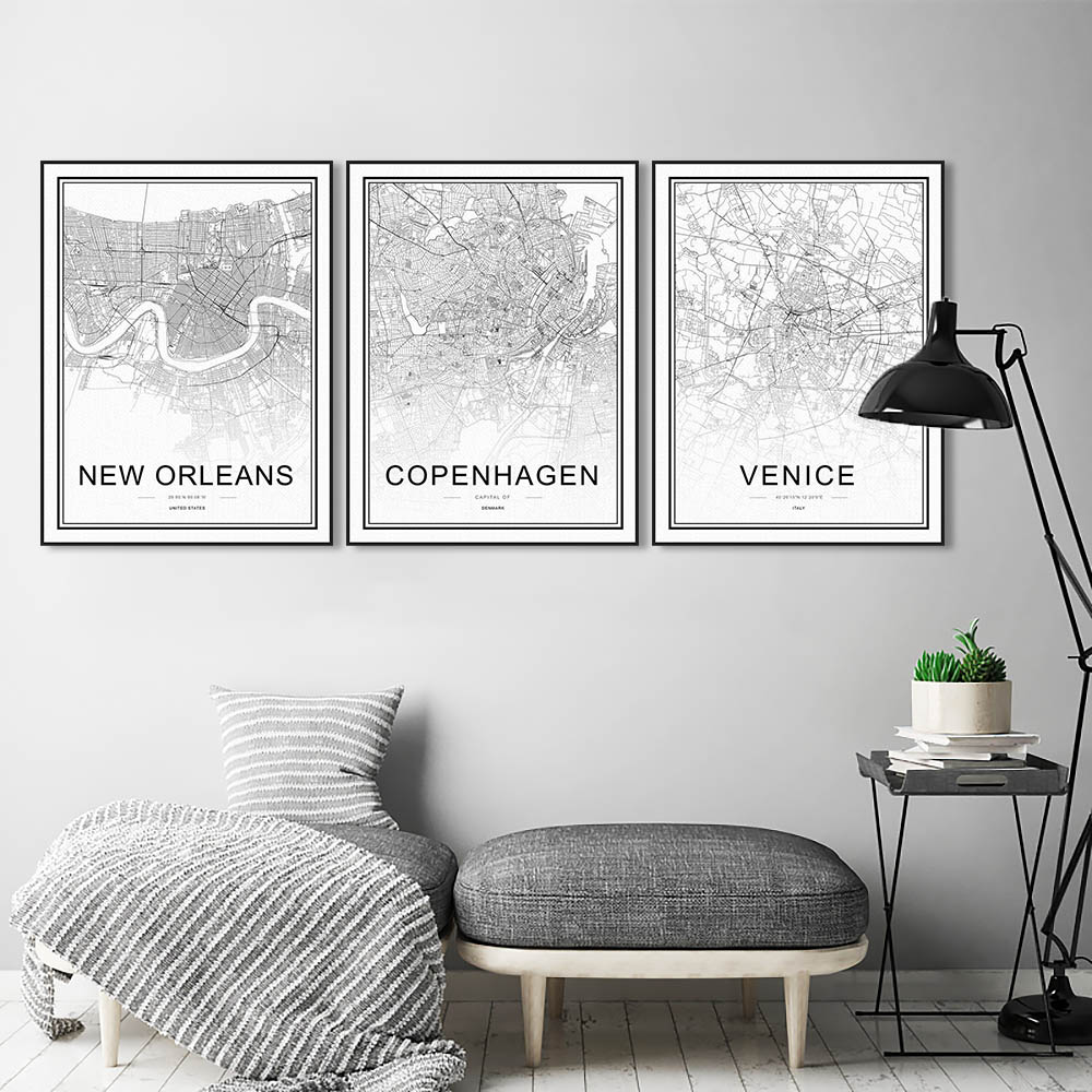 Black and white world city maps munich stockholm posters prints black and white world city maps munich stockholm posters prints scandinavian living room wall art pictures decor canvas painting in painting calligraphy gumiabroncs Images