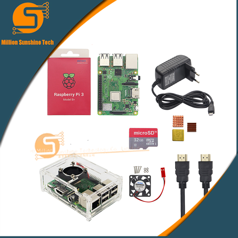 Raspberry Pi 3 Model B+ plus Starter kit Raspberry Pi 3 Model B+plus+ Case+Fan+16/32GB Card+Heat Sink+5V 3A+HDMI Cable pi cobbler plus kit breakout cable gpio 40pin cable for raspberry pi model b plus raspberry pi model b 20cm