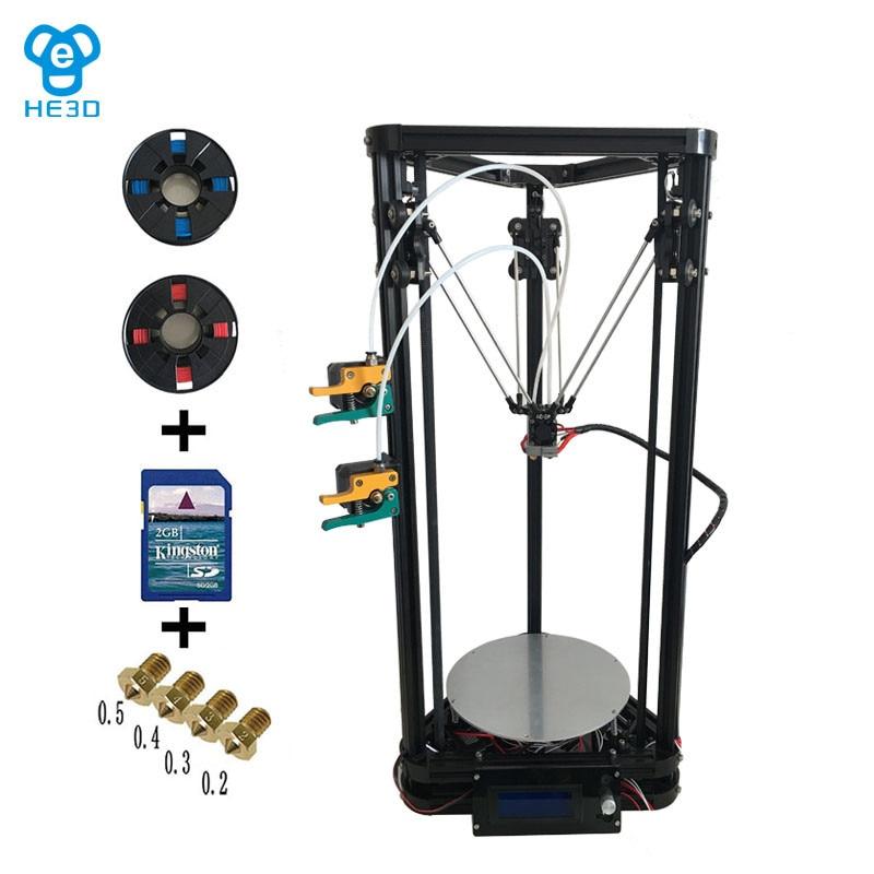 New upgrade HE3D high presicion K200 dual aluminium extruder delta diy 3D printer with heat bed