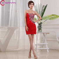Beauty Sexy Red Embroidery Beaded Cocktail Party Dresses 2018 Party Prom Dresses Sleeveless Formal Occasion Dress
