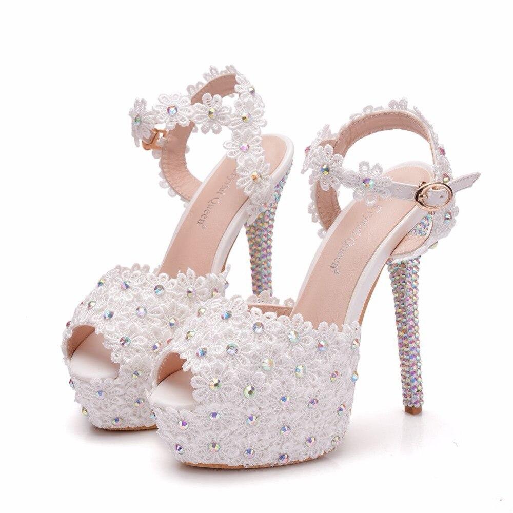 14 Las White Sandalias Zapatos Alto Finos Fiesta Mujeres De Cristal Tacón  Plataforma Boda Reina 14cm Tacones Cm ZPqwfxO 2d4b88a455c9