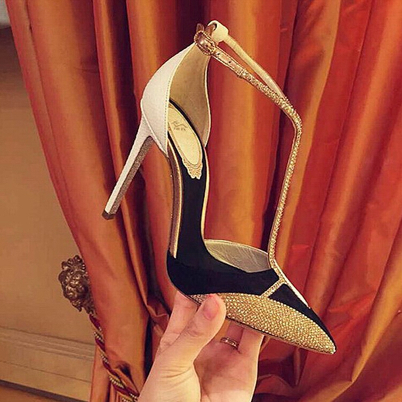 Mixed Colors 2015 Mary Jane Ladies Shoes With Heels Hasp Spring Autumn Sexy Genuine Leather Rhinestone