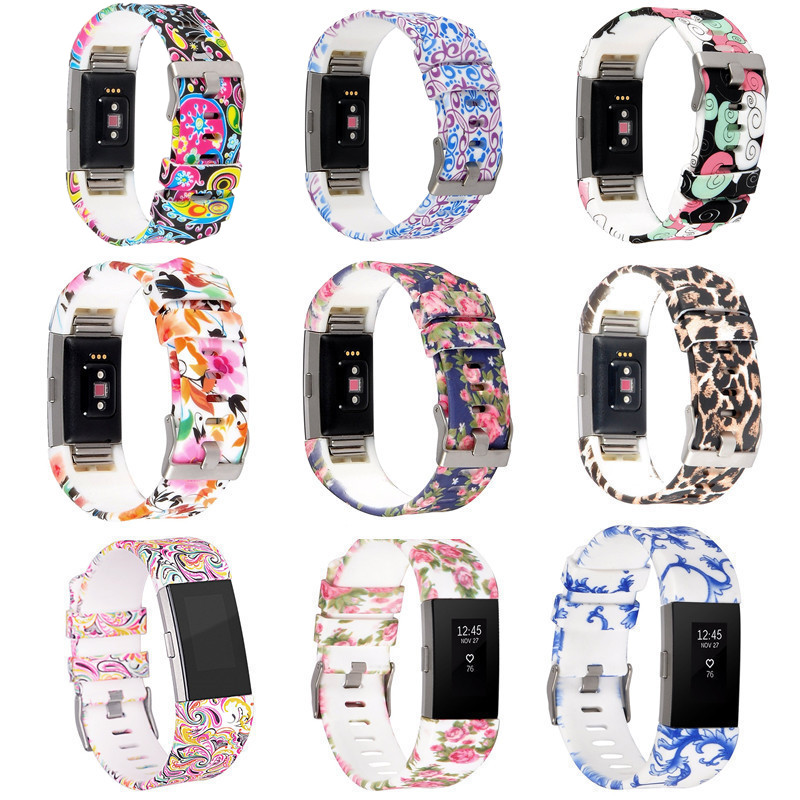 NEW Replacement Painted Strap Bracelet Soft Silicone Watch Band Wrist Strap For Fitbit Charge 2 Band Charge 2 Heart Rate Smart