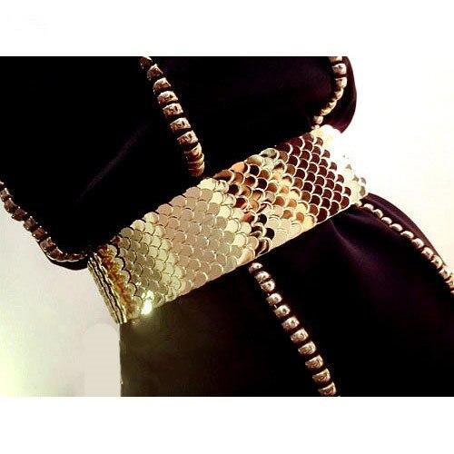 Европа мода женский золотая рыбка шкала металла упругой широкий пояс для женщин ночной клуб ну вечеринку блестящий аксессуары пояс пояс