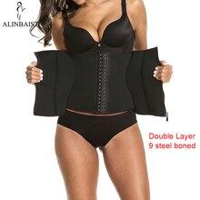 Women Sweat Waist Trainer for Weight Loss 9 Spiral Steel Boned Slimming Belt Fat Burning Body Shaper Waist Cincher Shapewear