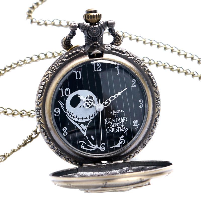 Vintage Jack Skellington The Burton's Nightmare Before Christmas Quartz Pocket Watch Necklace Chain Women Men Gift