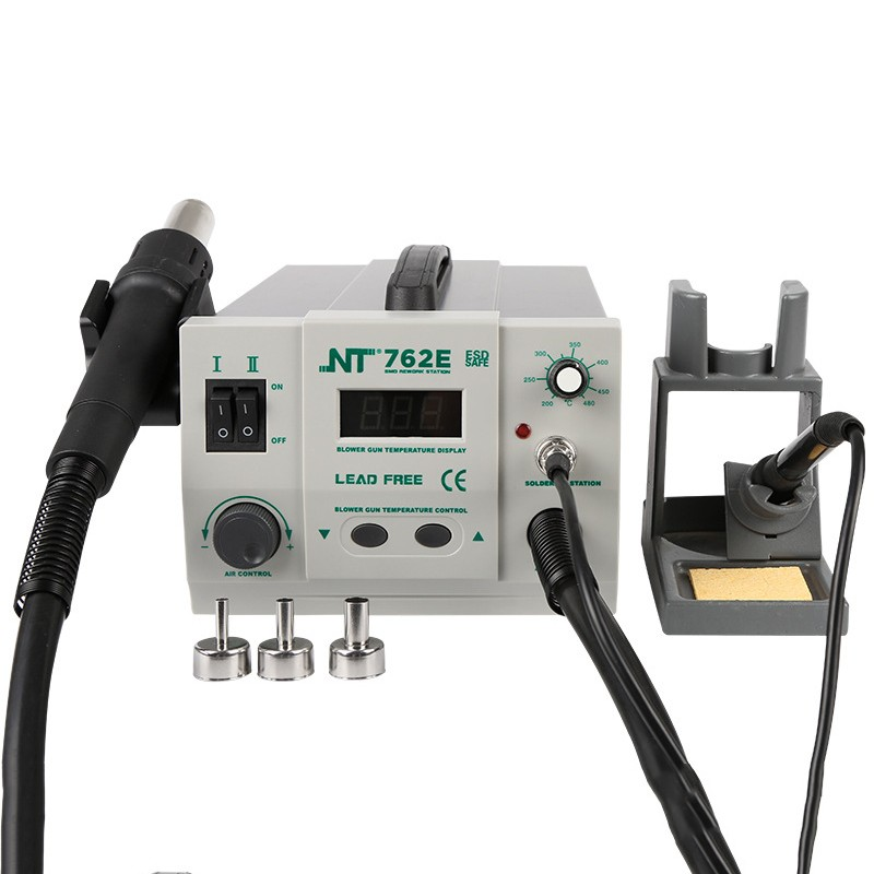 NT-762E 2 in 1 BGA Lead-free Adjustable Hot Air Rework Station Soldering iron digtal screen 750W For CPU PCBNT-762E 2 in 1 BGA Lead-free Adjustable Hot Air Rework Station Soldering iron digtal screen 750W For CPU PCB