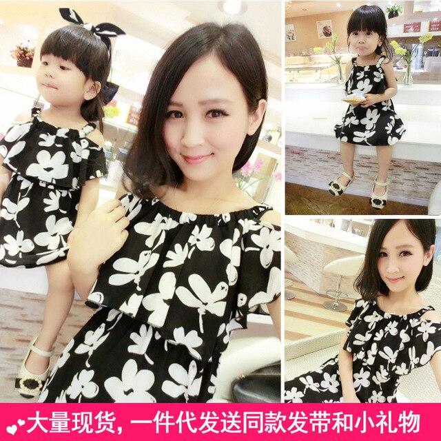 Семья комплект мода танк платья соответствующие одежда для мать и дочь на пляже платье одежда семья стиль одежды летний YEA1