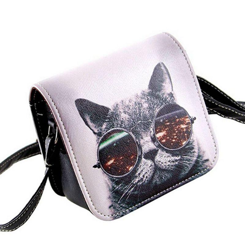 Bolsos Carteras Mujer Marca Women PU Leather Cat Wearing Glasses Print Messenger Handbag 2017 Women Bag   c40-484