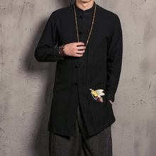 Military Time-limited Regular Casual Double-layer 2017 New Spring Japanese Folk Style Embroidered Linen Long Jacket Chinese Men