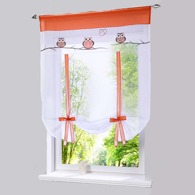 2017 Bonprix European Embroidery Style Owl Pattern Tie Up Roman Window  Curtain Cafe Kitchen Curtains Tab