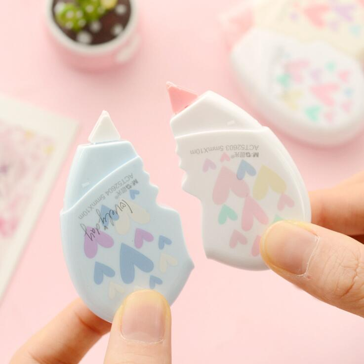 2PCS/Pair 10M Creative Kawaii Heart Shape White Out Correction Tape Escolar Kids Birthday Gift School Office Stationery