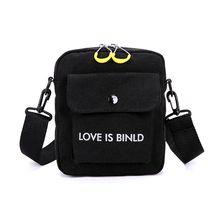 купить Unisex Messenger Bag Canvas Small Women Men Shoulder Handbags Letter Printing Satchel Casual Crossbody Bags дешево