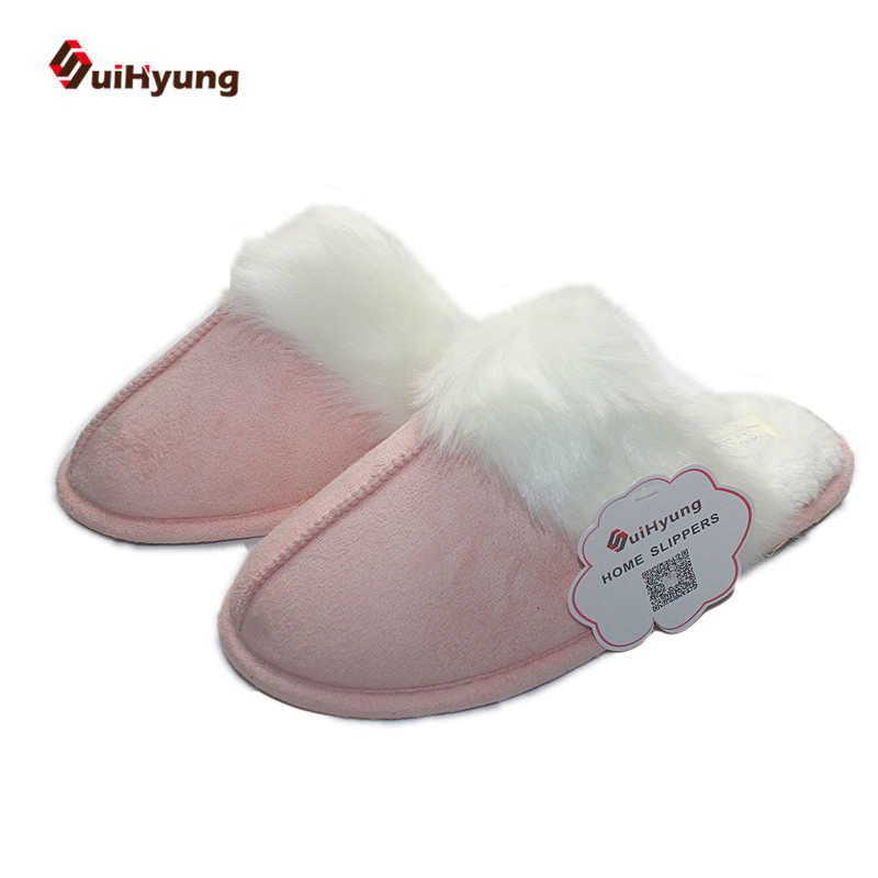 SuiHyung Female Winter Suede Warm Cotton Slippers Warm Non-slip Indoor Home Slippers Bedroom Floor Plush Shoes fashion autumn and winter indoor home lovers cotton drag floor plush slippers female slip resistant