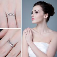 Cubic Zirconia Sterling Silver Infinity Ring for Women