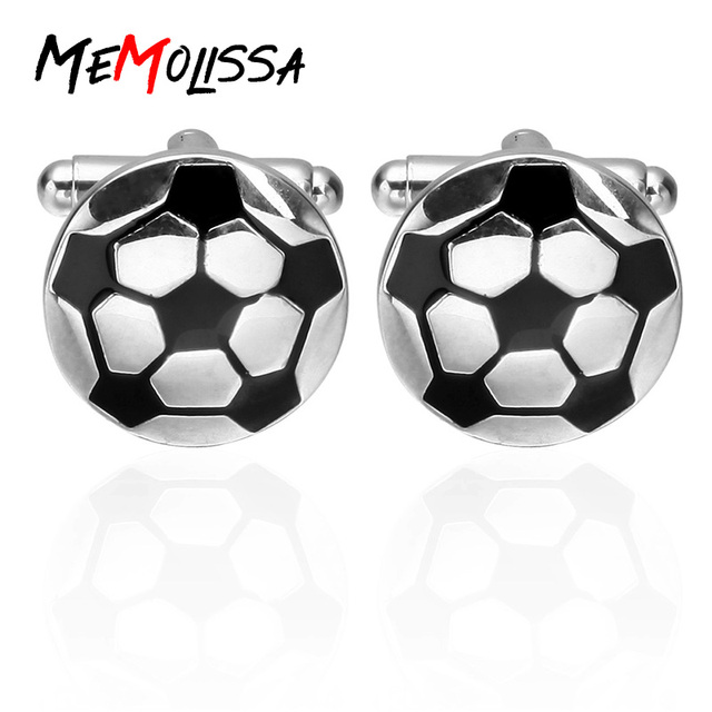 Memolissa Men's Jewelry Mens Shirts Football Cufflinks In White Tone Cuff Links High